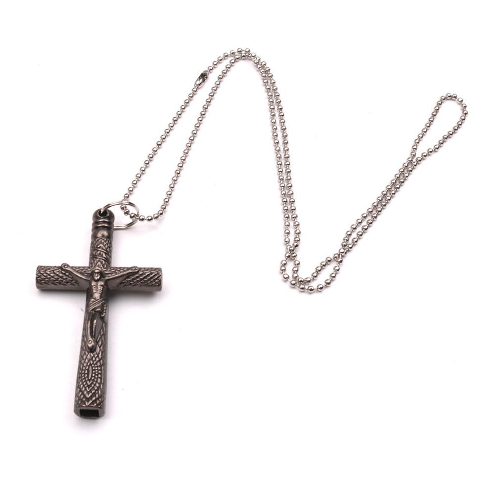 Drum Key Chain Necklace Cross Drum Head Wrench Jesus Cross Crucifix Tuning Accessories Screw Set Tool Kit  Gun color