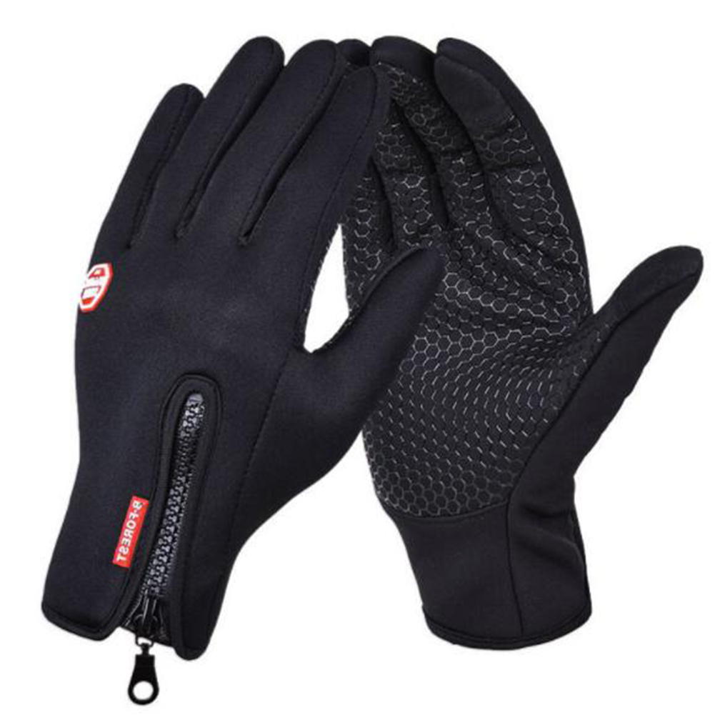Windproof Sports Gloves Zippered Touch Screen Gloves Snowboard Skiing Climbing Cycling black_S