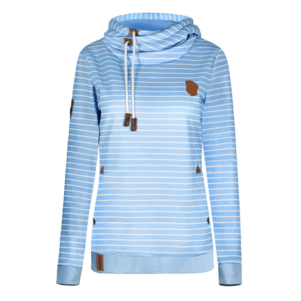 Women Fashion Striped Hoodie Tops with Pocket Embroidered Velvet Warm Blouse