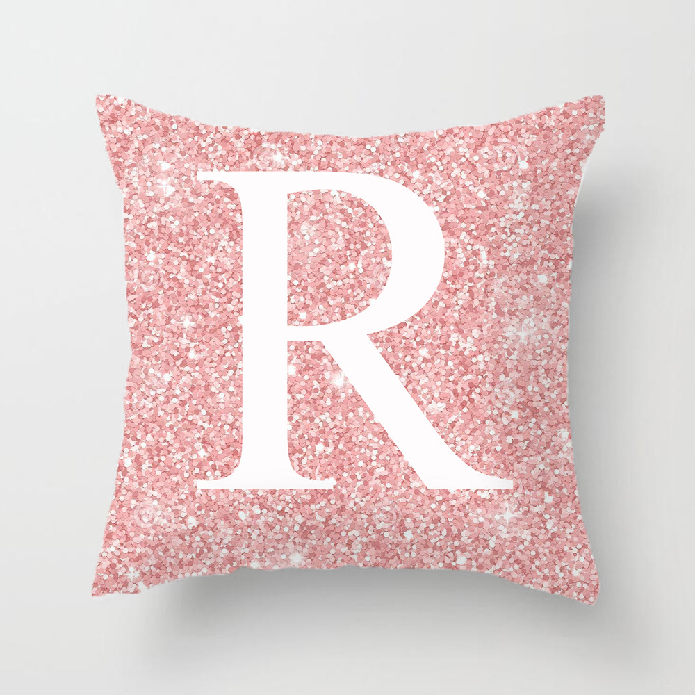 45x45cm Pink Metal Letter Peach Skin Pillowcases Decorative Cushion Cover Home Decoration 18_45*45cm