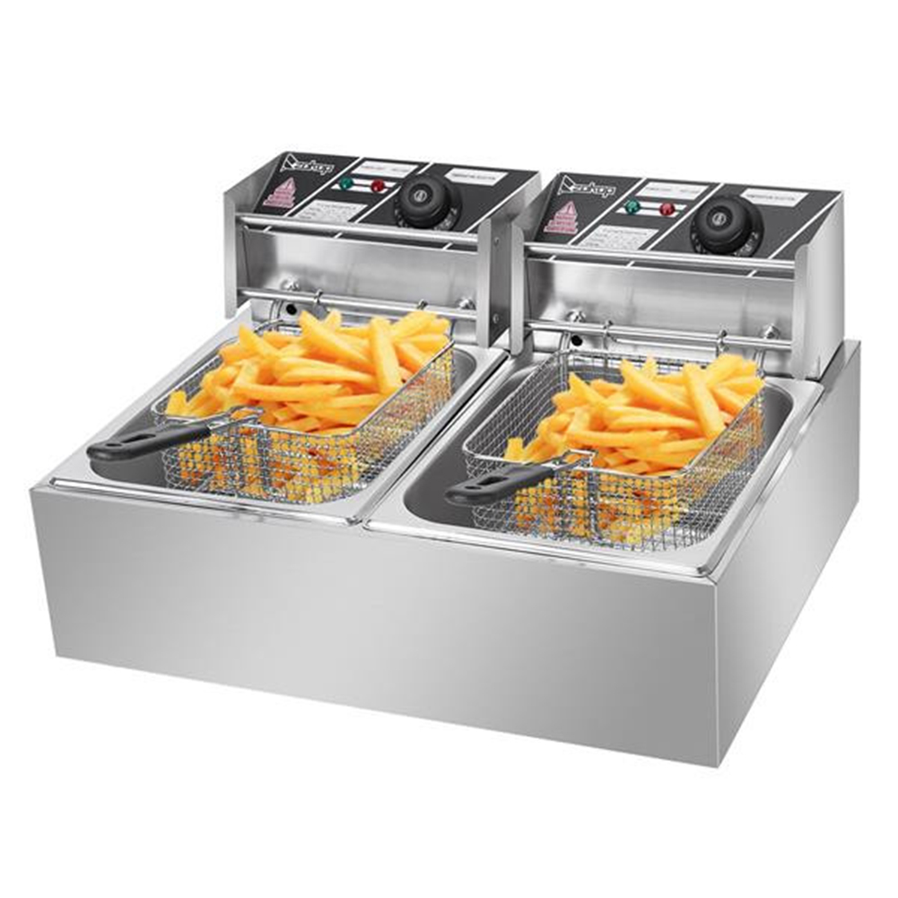[US Direct] Original ZOKOP Electric Commercial Deep Fryer With Double Basket 2 Baskets Deep Fryers Restaurant Home Kitchen 5000w Max Silver