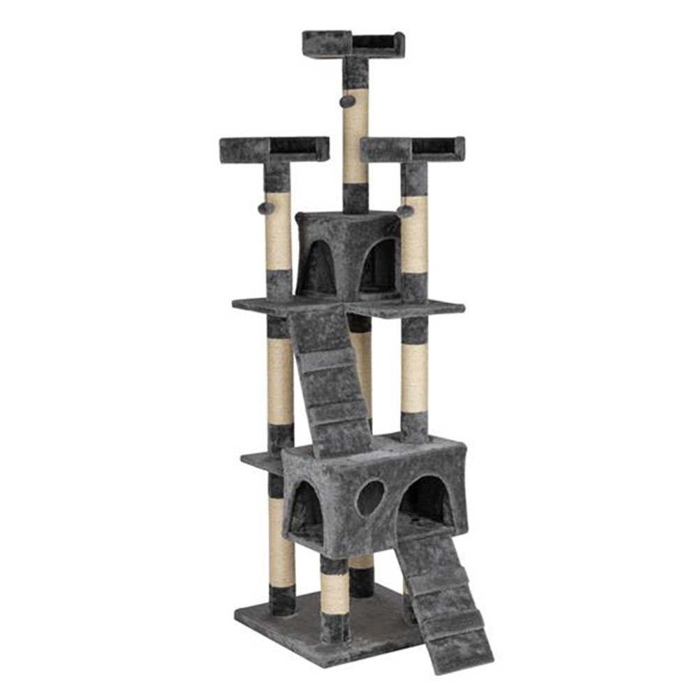 [US Direct] 66 Inch Sisal Cat  Climbing  Frame Cat Tree Tower Cat Toy Model Hb-16064 For Pet Cats gray