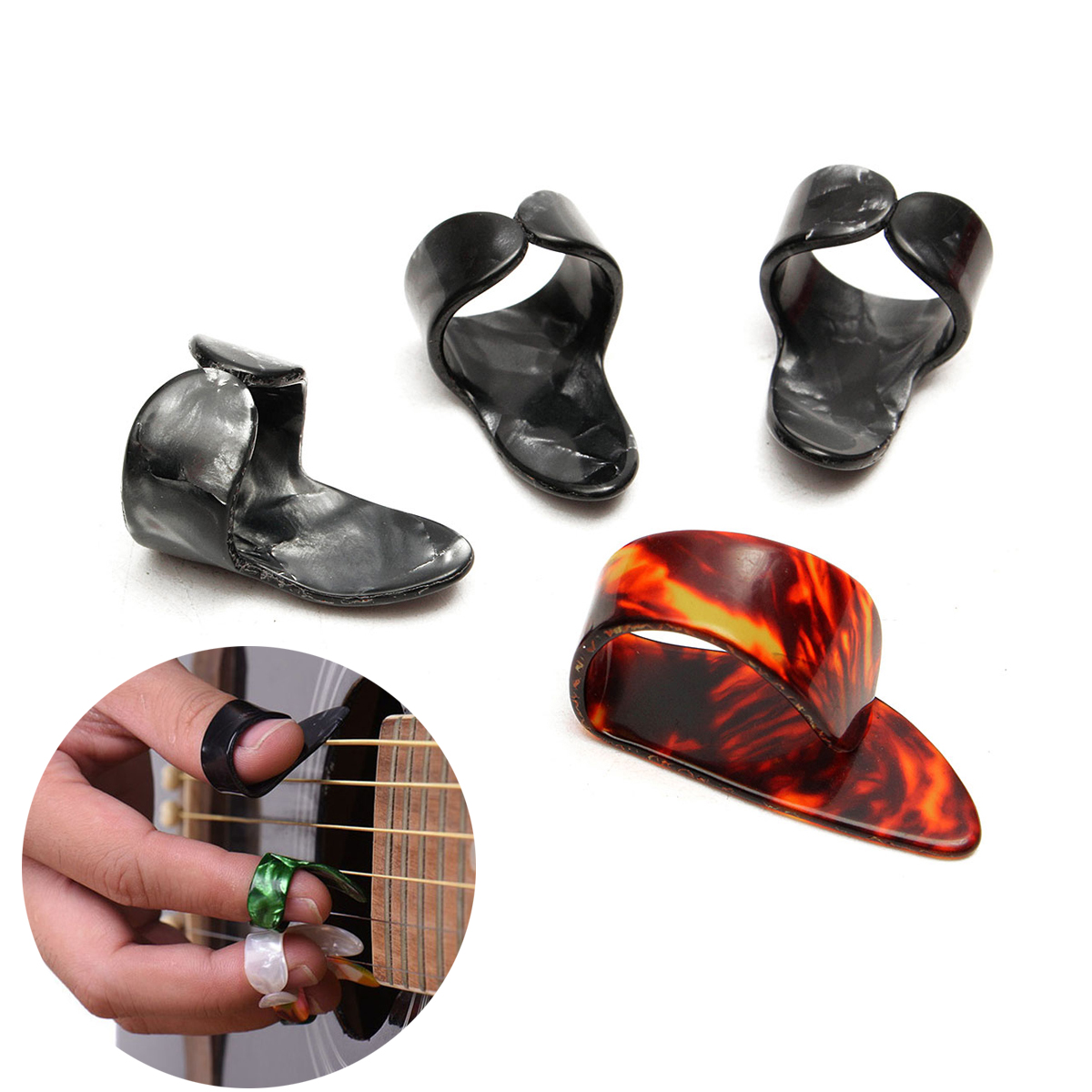 4Pcs/set Celluloid 1 Thumb + 3 Finger Guitar Picks Guitar Plectrums Sheath for Acoustic Electric Bass Guitar Random Color MX0025D