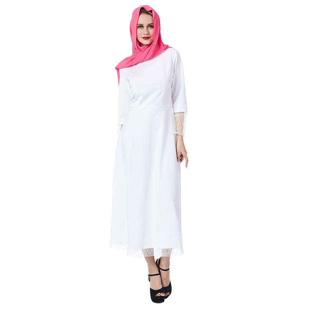 Women Muslim Style White High Waist Lace Splicing Dress