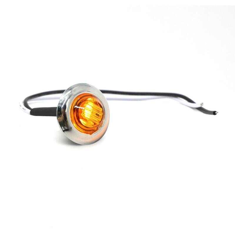 Truck Signal Light 3/4in Round Side Lamps with Electroplate Stainless Steel Frame 12V yellow light