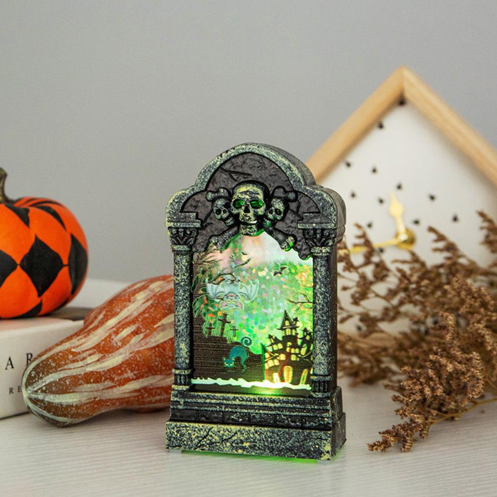 Halloween Luminous Scary Tombstone Shape LED Night Light Desktop Decoration