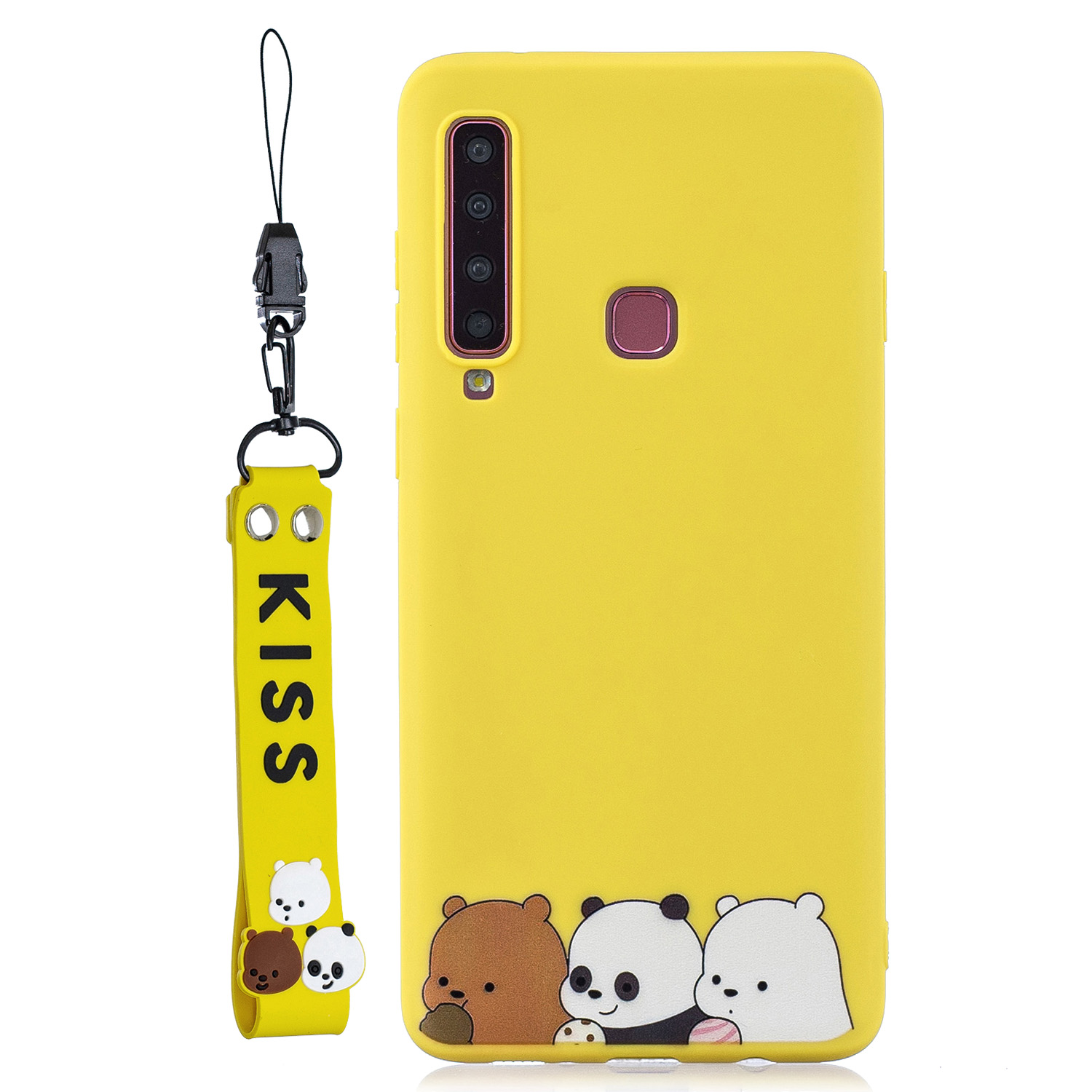 For Samsung A9 2018 Cartoon Lovely Coloured Painted Soft TPU Back Cover Non-slip Shockproof Full Protective Case with Lanyard yellow