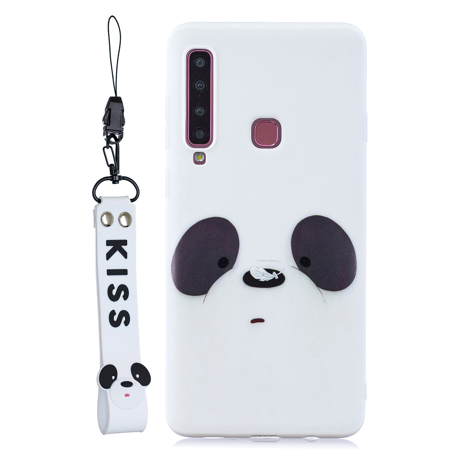 For Samsung A9 2018 Cartoon Lovely Coloured Painted Soft TPU Back Cover Non-slip Shockproof Full Protective Case with Lanyard white