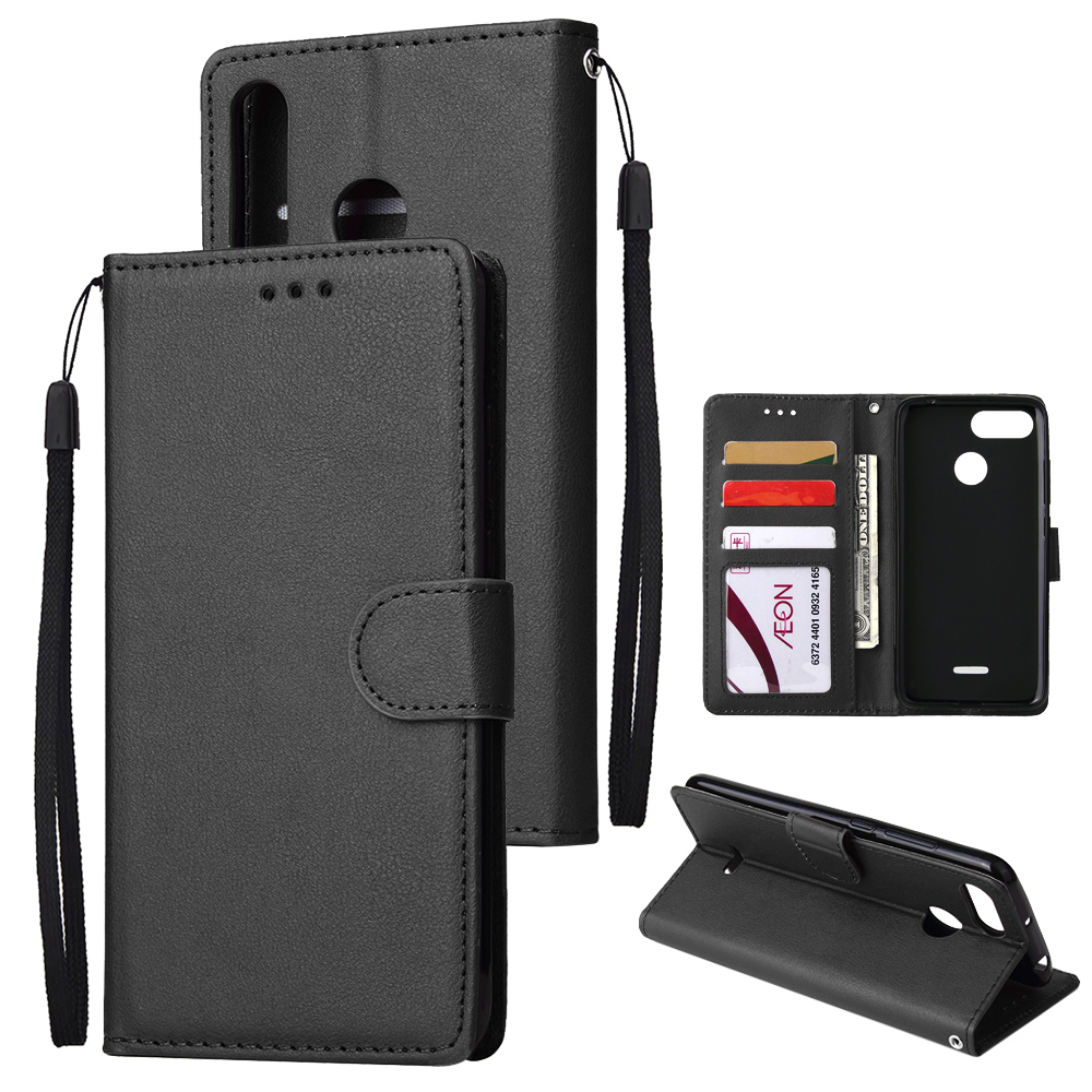 For HUAWEI P30 lite/nova 4E Flip-type Leather Protective Phone Case with 3 Card Position Buckle Design Phone Cover  black