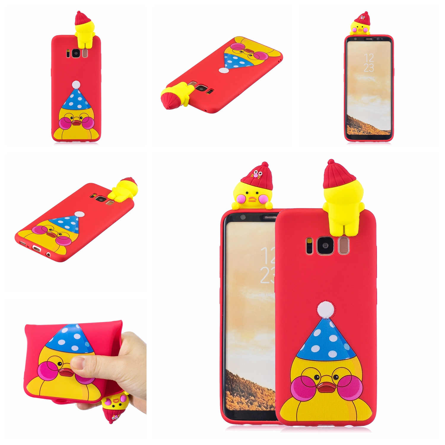 For Samsung S8 3D Cartoon Lovely Coloured Painted Soft TPU Back Cover Non-slip Shockproof Full Protective Case red