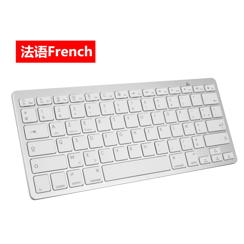 Wireless Gaming Keyboard Computer Game Universal Bluetooth Keyboard for Spanish German Russian French Korean Arabic French White