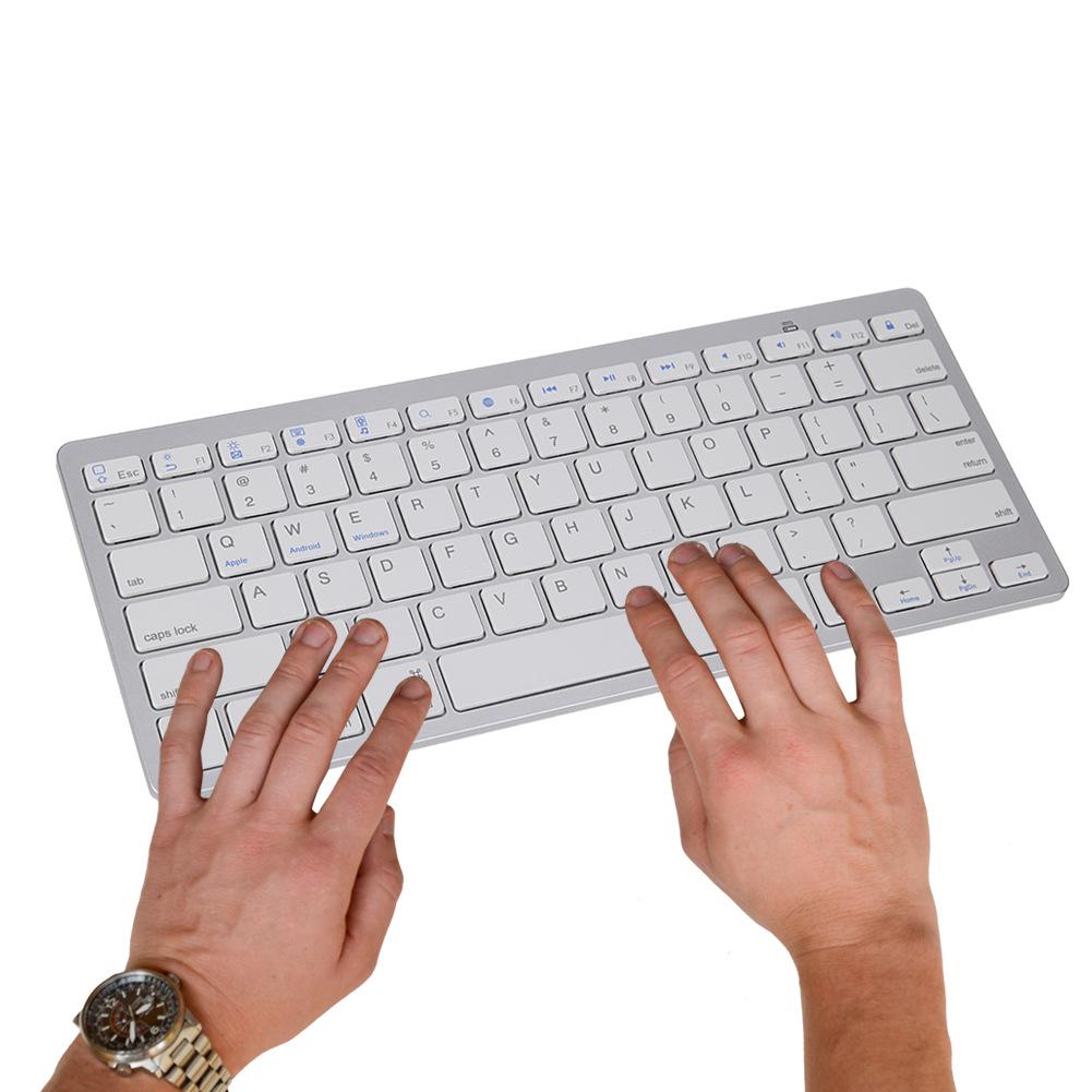 Wireless Gaming Keyboard Computer Game Universal Bluetooth Keyboard for Spanish German Russian French Korean Arabic English white