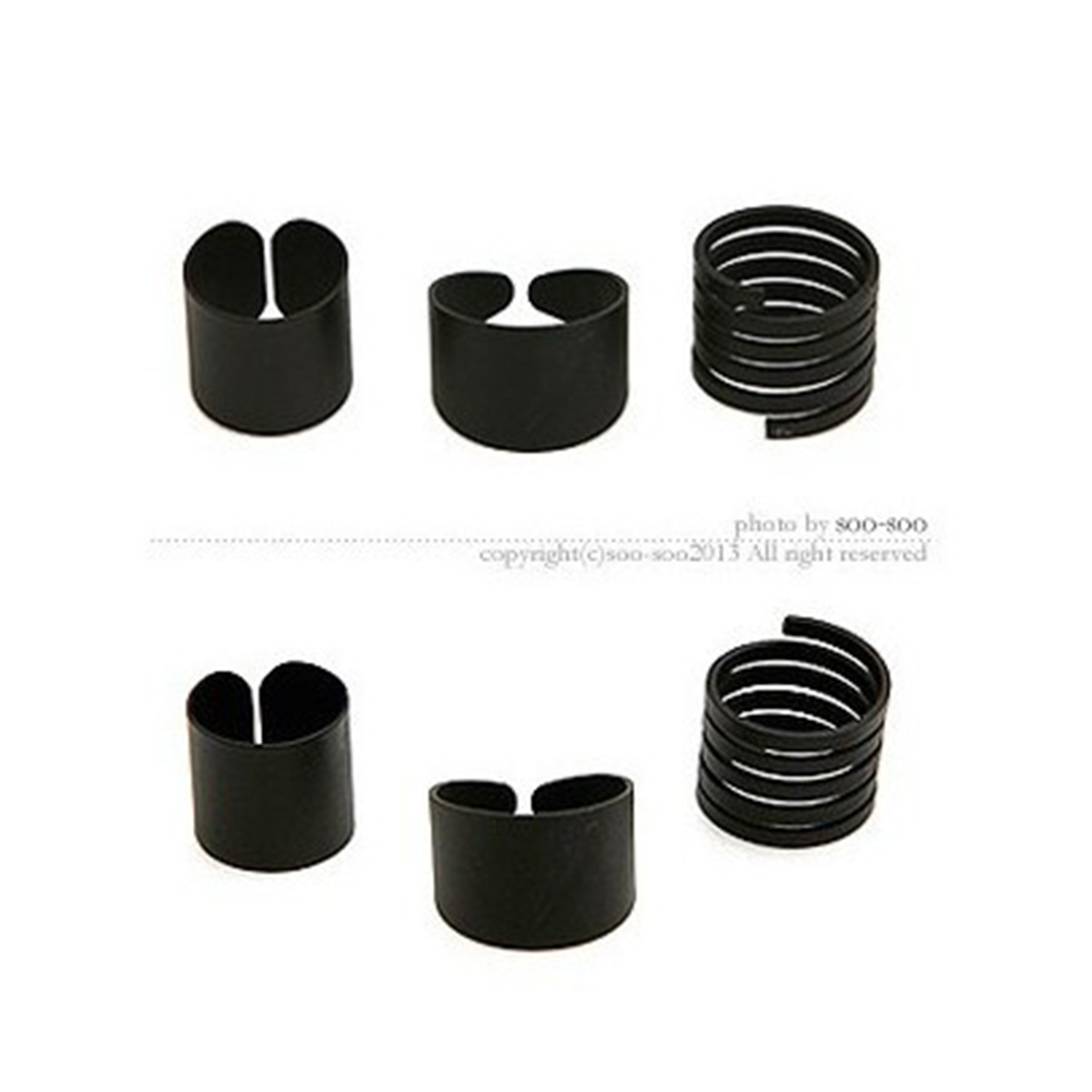 3 Pcs Fashion Simple Black Matte Frosted Ring Creative Unique Finger Ring black