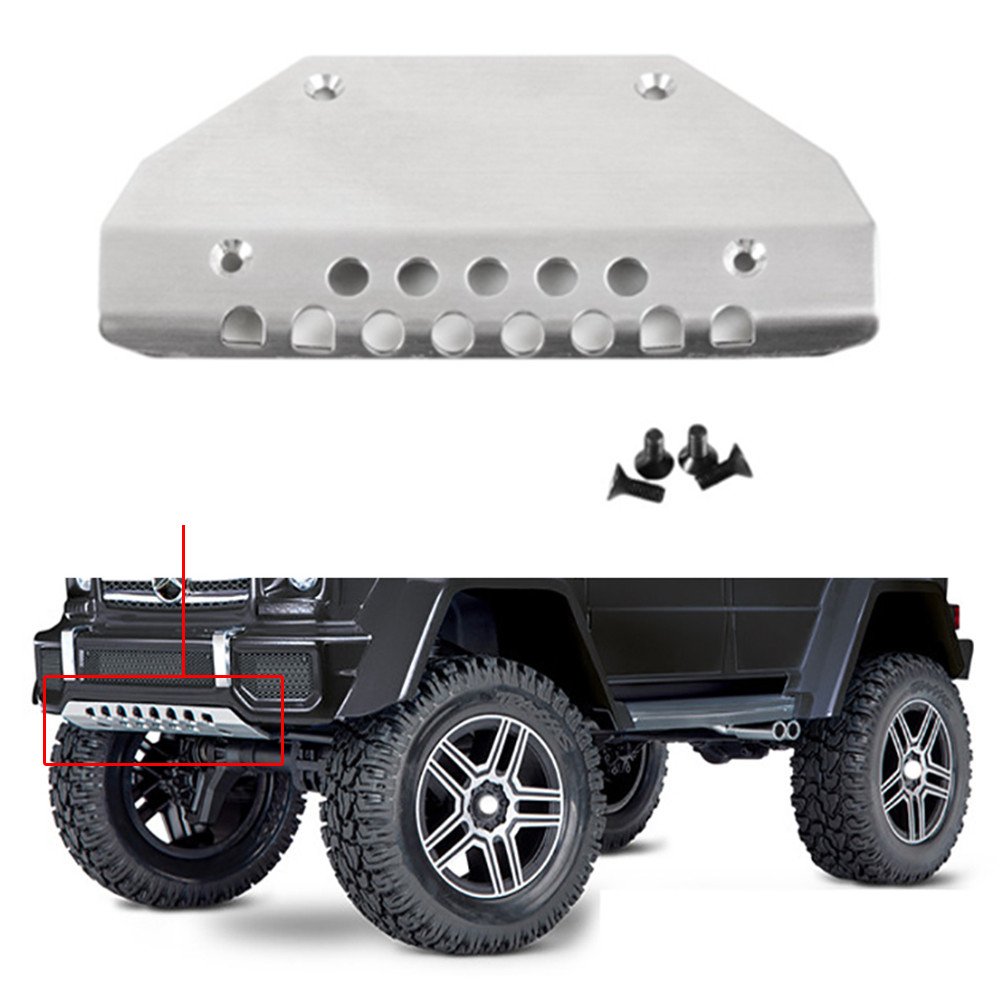 Stainless Steel TRX4 Front Chassis Armor Protector Plate for 1/10 RC Crawler Traxxas TRX-4 G500 Silver
