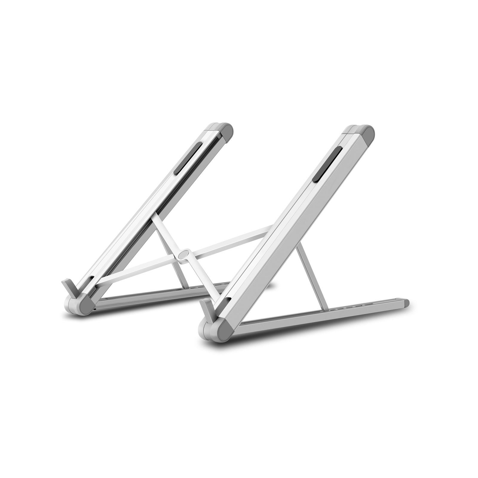Aluminum Alloy Laptop Stand Adjustable Folding Portable Holder for Notebook Computer Bracket Lifting Cooling Holder  Silver grey
