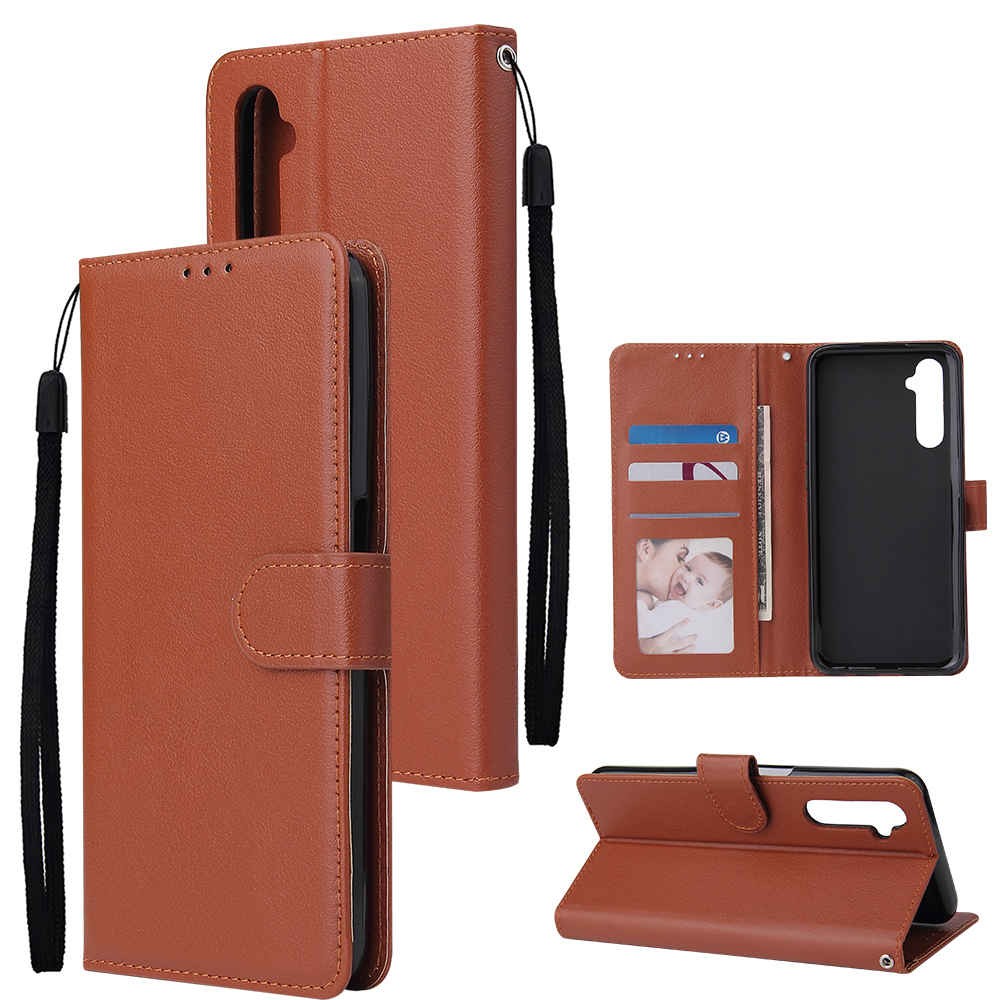 For OPPO Realme C3/Realme 6 PU Leather Mobile Phone Cover with 3 Cards Slots Phone Frame brown