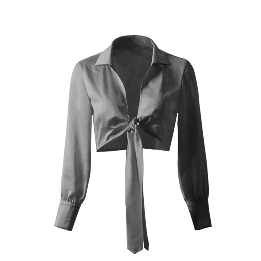 Women V-neck Satin Tops Long-sleeved Bowknot Tie Fashion Crop Top Blouse 8207-3 black_L