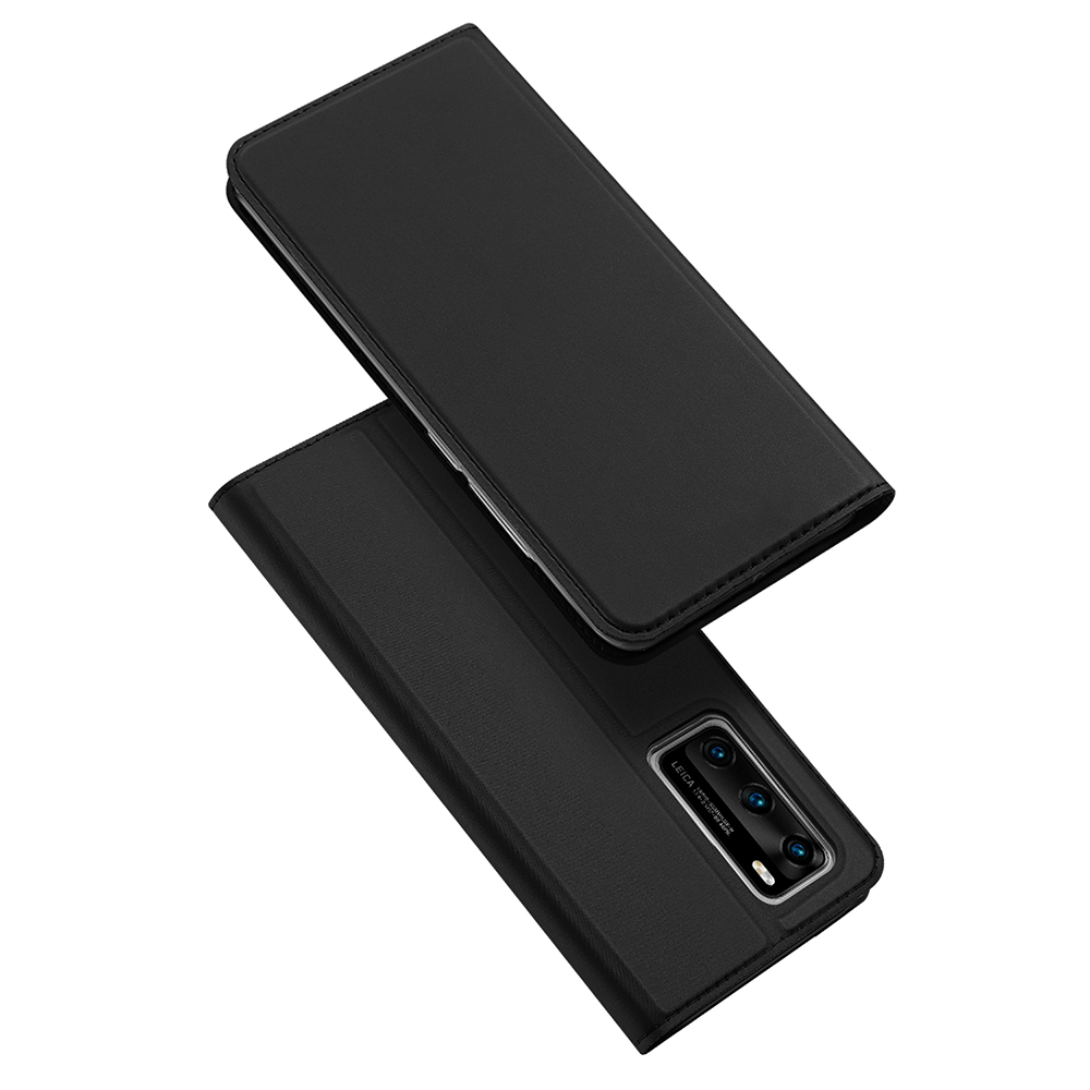 DUX DUCIS For HUAWEI P40 Leather Mobile Phone Cover Magnetic Protective Case Bracket with Cards Slot black