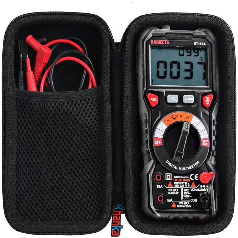 Storage Bag For KAIWEETS Digital Multimeter TRMS 6000 Counts Volt Meter Auto Ranging black