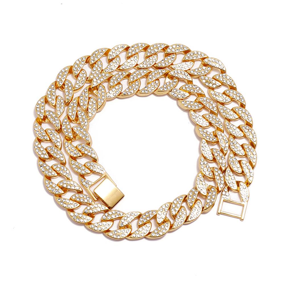 Men's Necklace Hip-hop Style Full-diamond Chain Necklace Bracelet Necklace-gold 50cm