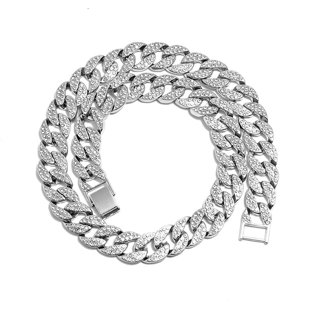 Men's Necklace Hip-hop Style Full-diamond Chain Necklace Bracelet Necklace-silver 50cm