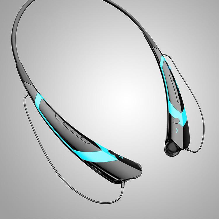 Wireless Bluetooth V4.2 + EDR Headphone Stereo Sports Headset Personality Portable Gift black+blue