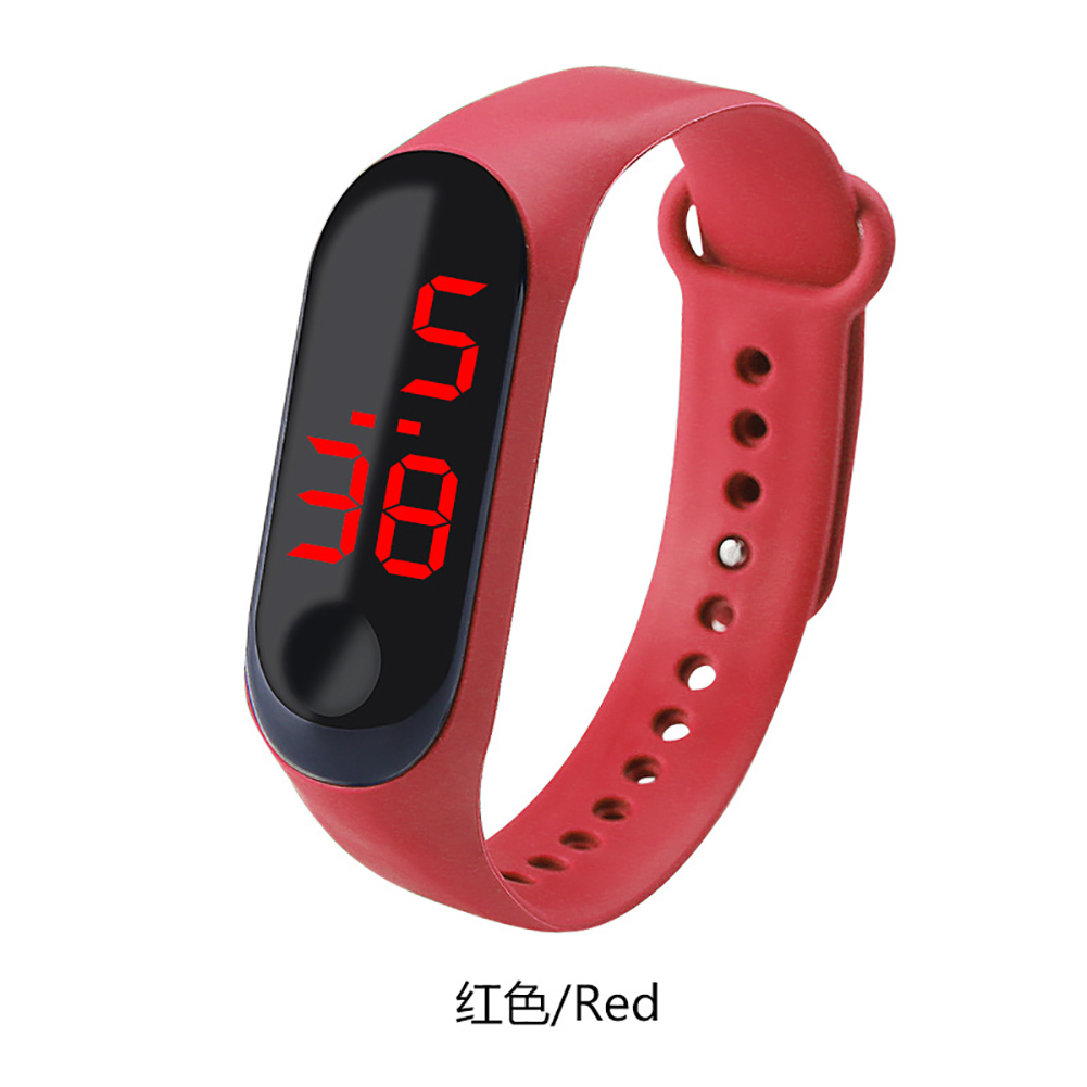 Fashion Student Couple Led Casual Sports Touch Electronic Watch Millet 3 Bracelet Watch Trend Fashion Mesh Belt Watch red