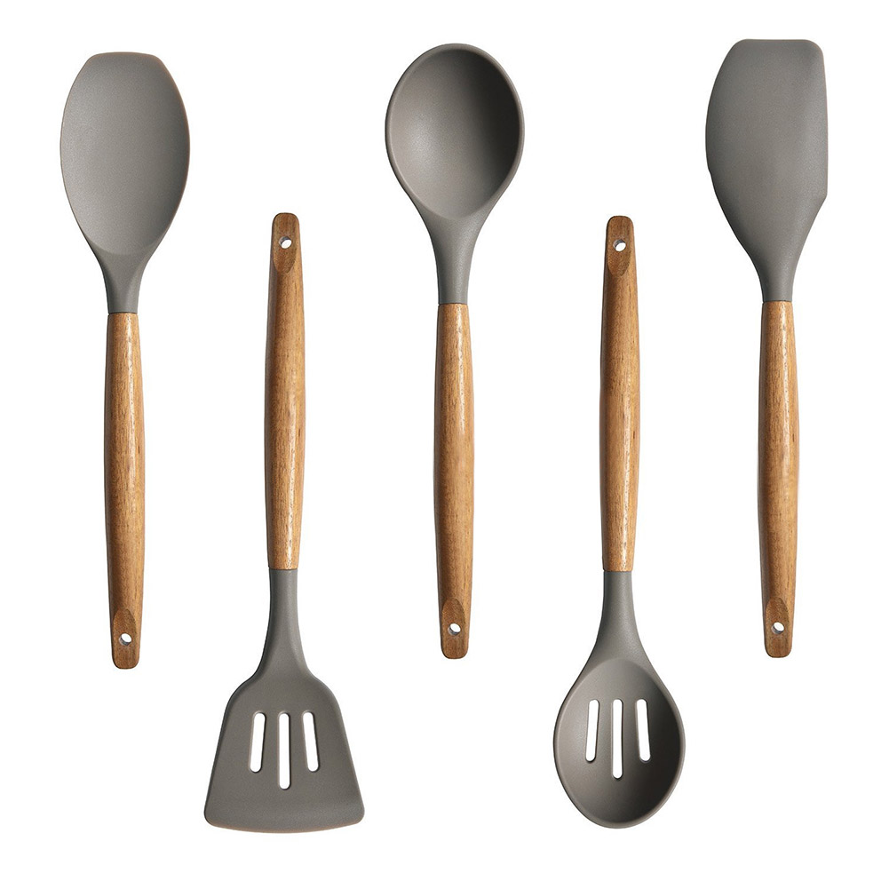 5Pcs/set Silicone Kitchenware Wooden Handle Non-stick Cooking Salad Spoon Leakage Scraper Shovel 5-piece set