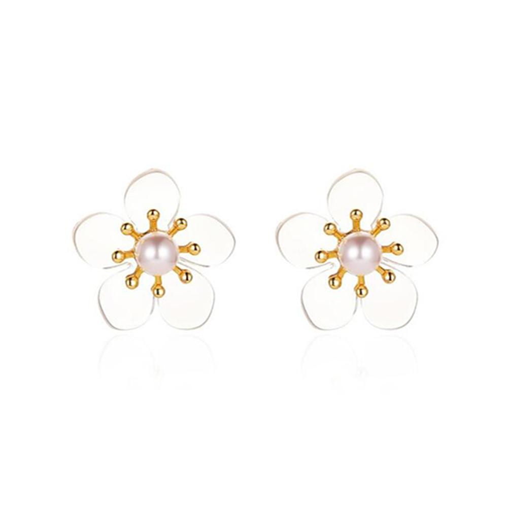 1 Pair of Women's Earrings Simple Style Transparent Flower Pearl Earrings 02 five petals golden