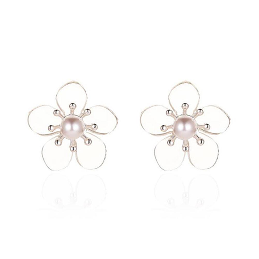 1 Pair of Women's Earrings Simple Style Transparent Flower Pearl Earrings 01 five petal flower silver