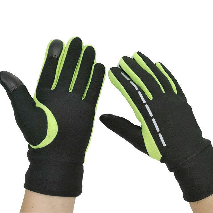 Gloves Winter Therm With Anti-Slip Elastic Cuff touch screen Soft Gloves Sport Driving Glove Cycling Warm Gloves green_L