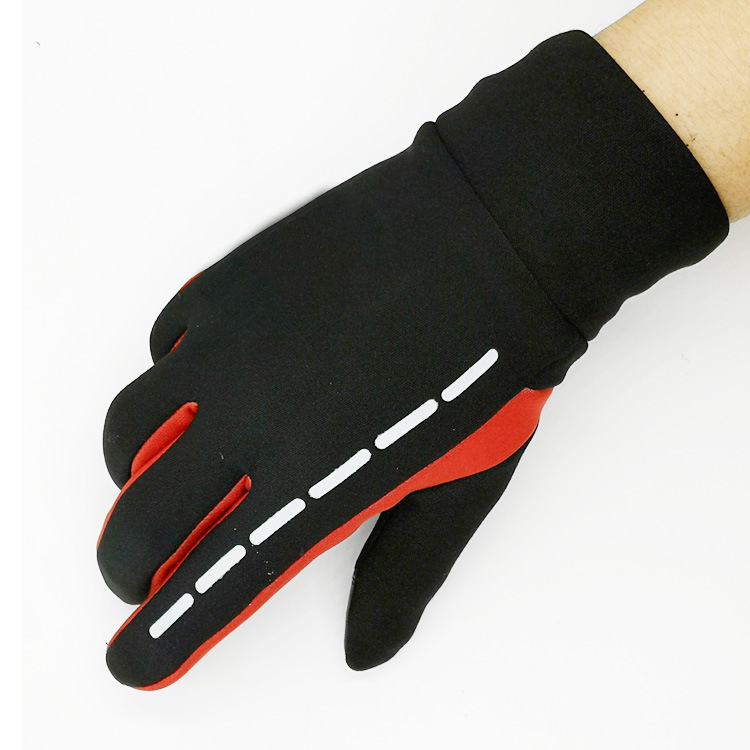 Gloves Winter Therm With Anti-Slip Elastic Cuff touch screen Soft Gloves Sport Driving Glove Cycling Warm Gloves red_L