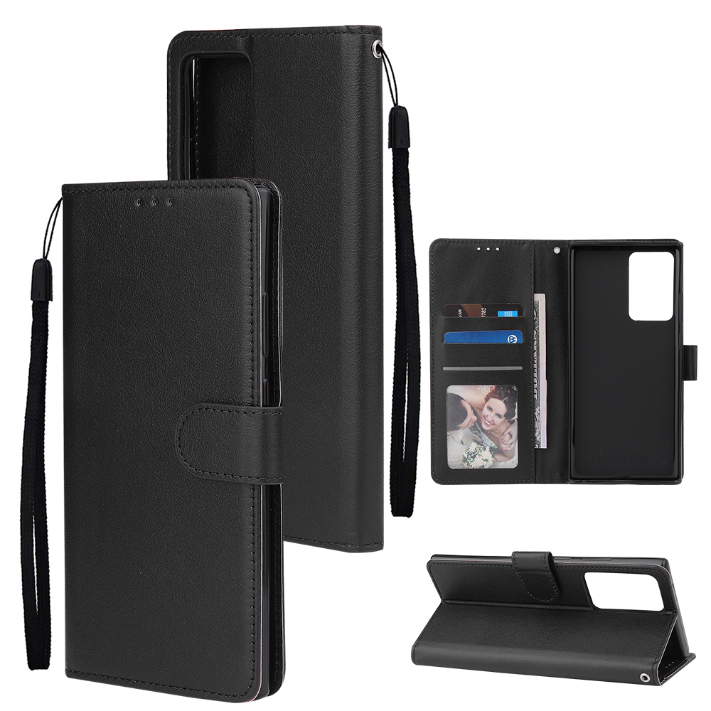 For Samsung Note 20/Note 20 Ultra PU Leather Three-card Photo Frame Front Buckle Mobile Phone shell black