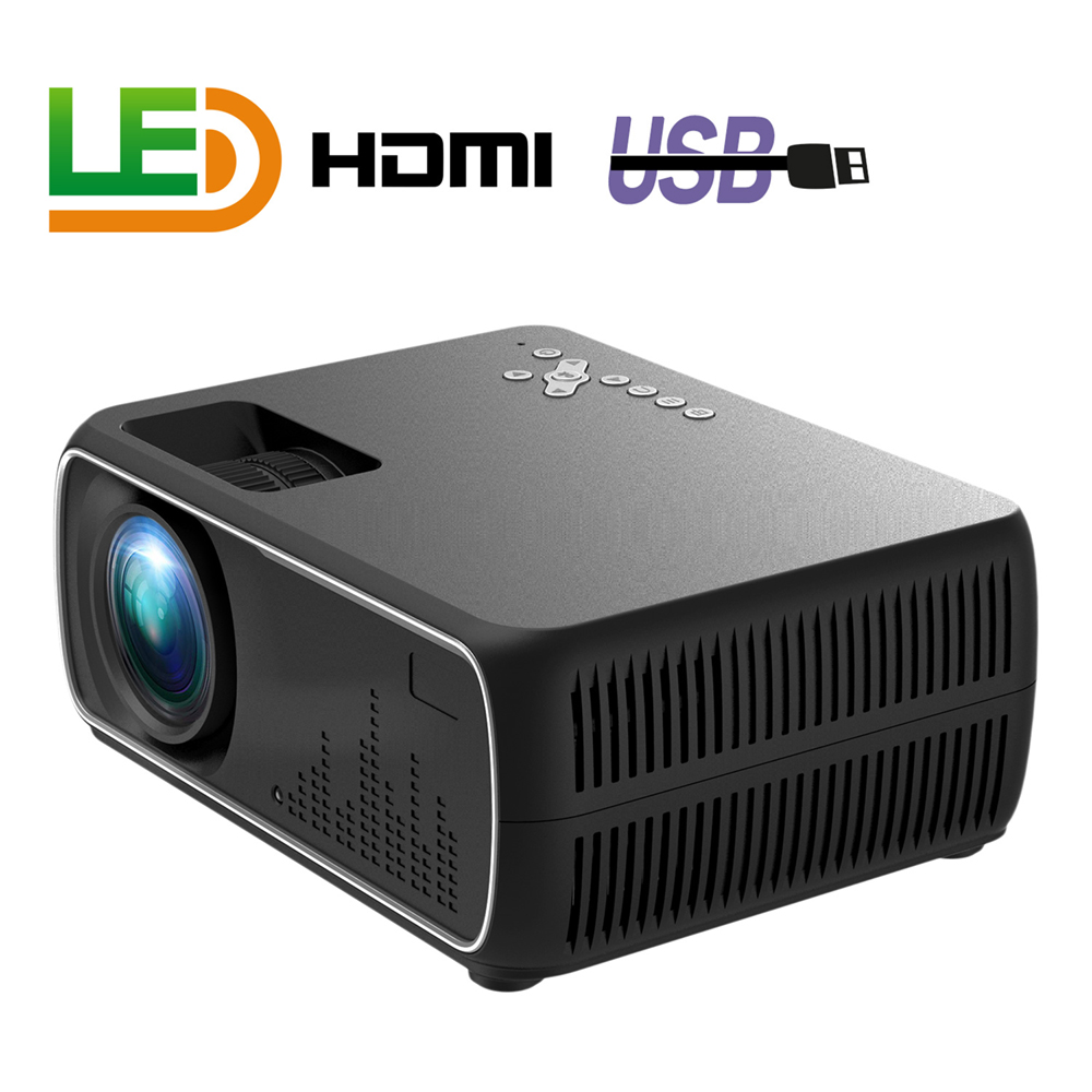A20 Mini Projector HD 1080P TV Projector Home Cinema Projector  Basic black UK plug