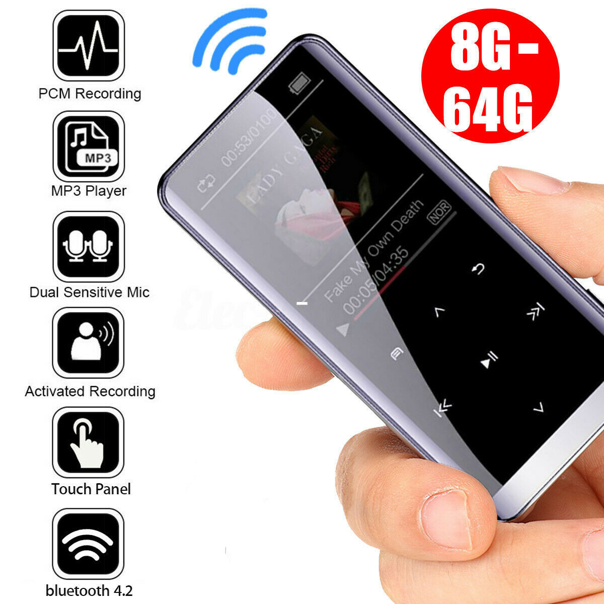 Wireless Bluetooth MP3 Player HIFI Sport Music Speakers Mini MP4 Media FM Radio Recorder  16GB without bluetooth