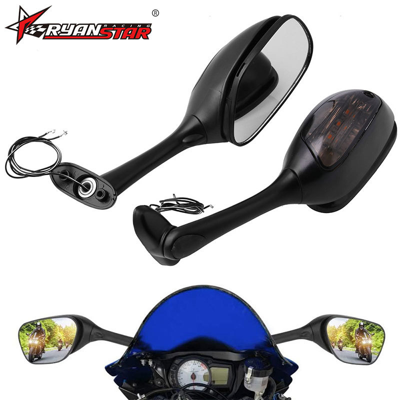 Mirrors Integrated Turn Signal Mirror for GSXR600 750 1000 Motorcycle rearview mirror with lights