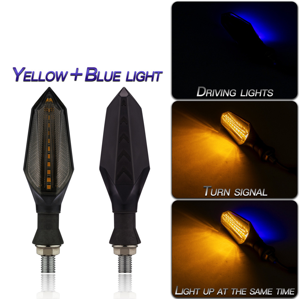 1 Pair Motorcycle Accessories Double-sided Luminous Led Water Turn  Signal Lights Flow mode/yellow+blue light