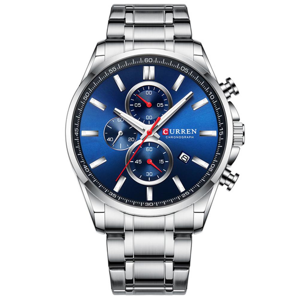 Men Quartz Watch Chronograph Date Luminous Waterproof Stainless Steel Band Business Wristwatch Silver + blue