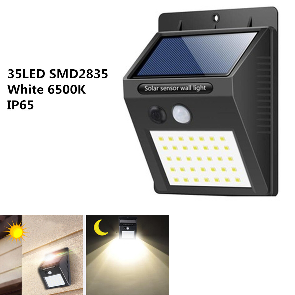 35LEDs Waterproof Solar Powered Motion Sensor Wall Light white light
