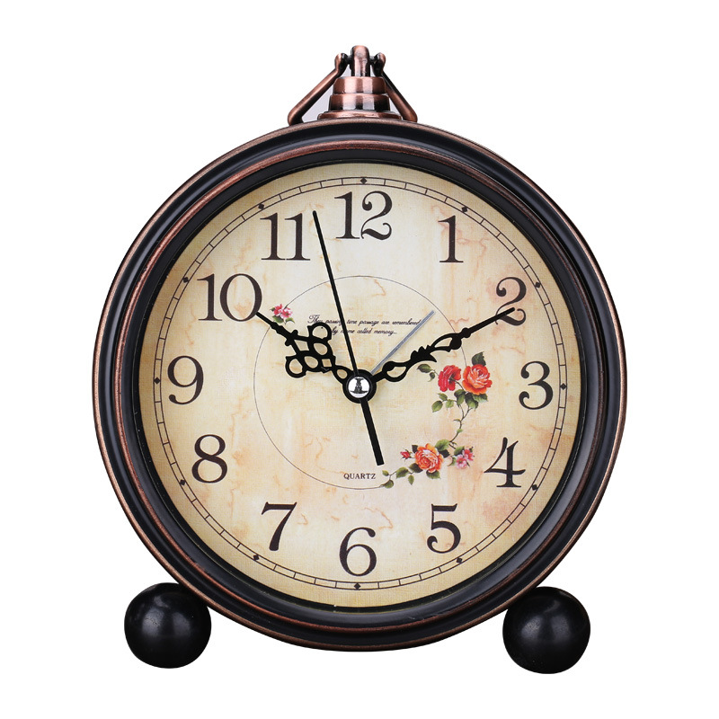 Retro Quartz European Simple Countryside Creative Student Bedside Non Ticking Silent Alarm Table Hanging Clock