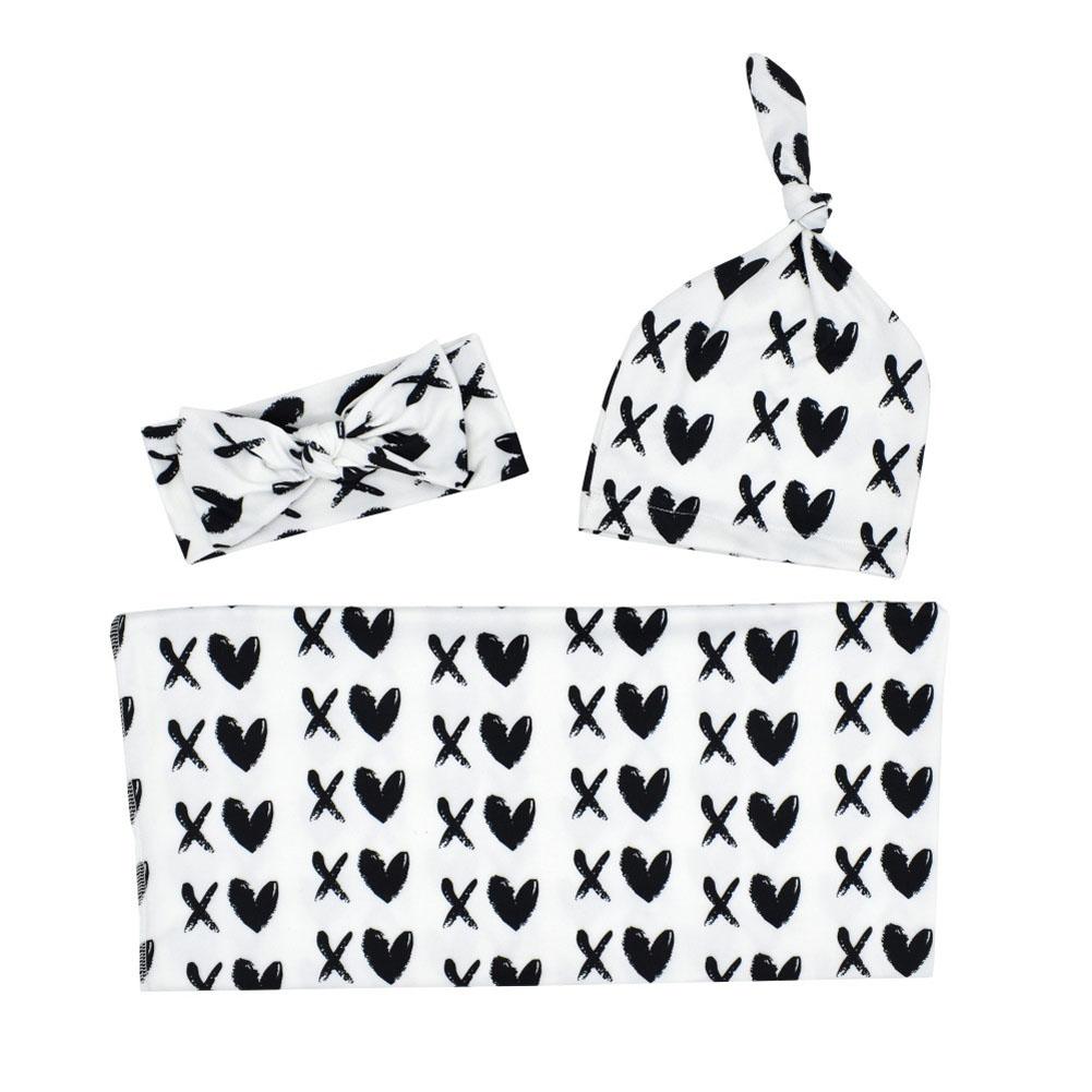 3Pcs/Set Newborn Printing Infant Swaddle Towel Cap Hair Band Set Love heart_80*80