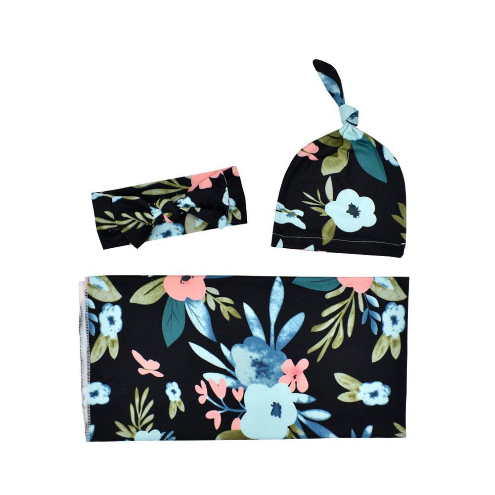 3Pcs/Set Newborn Printing Infant Swaddle Towel Cap Hair Band Set Black Orchid_80*80