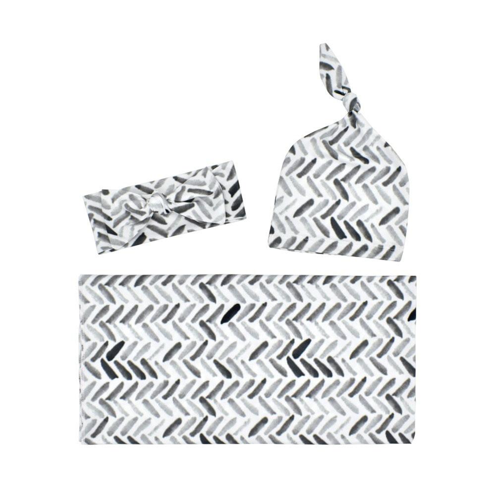 3Pcs/Set Newborn Printing Infant Swaddle Towel Cap Hair Band Set Grey geometry_80*80