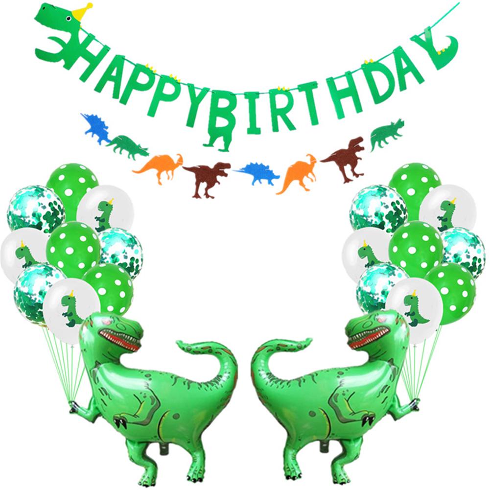 24pcs/set Dinosaur Balloon Aluminum Foil For Birthday Party Letter Pull Flag Dinosaur Print Latex Balloon 24 piece set