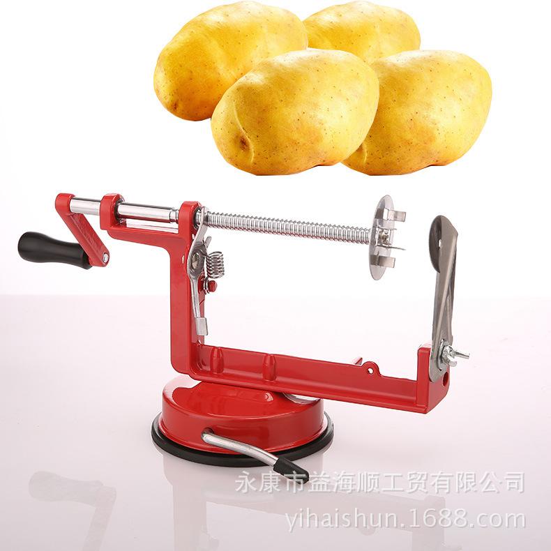 Manual Rotating Potato Chip Cutter Potato  Slicer Cutting Machine Potato Machine red