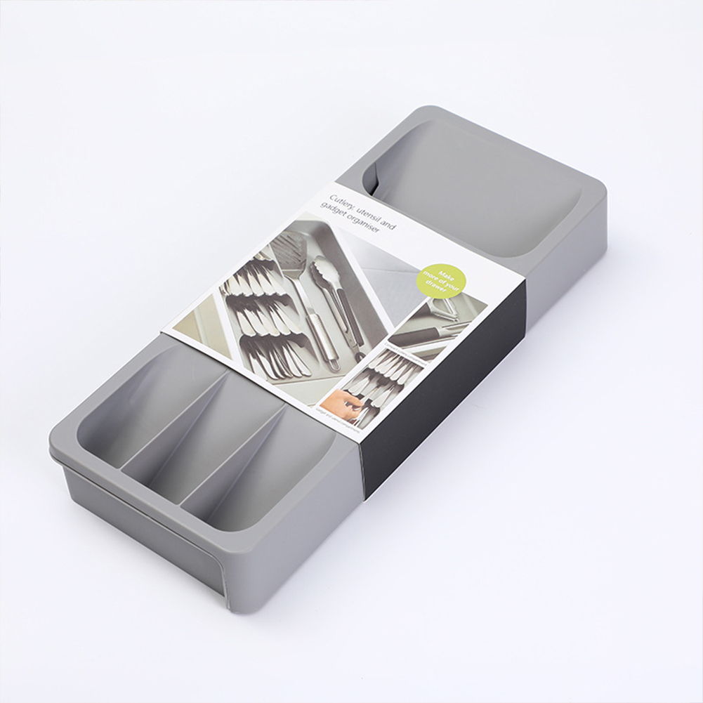 Multi-functional Knife Fork Storage  Box Lunch Spoon Organizer Rack Retractable Multi-compartment Box Gray