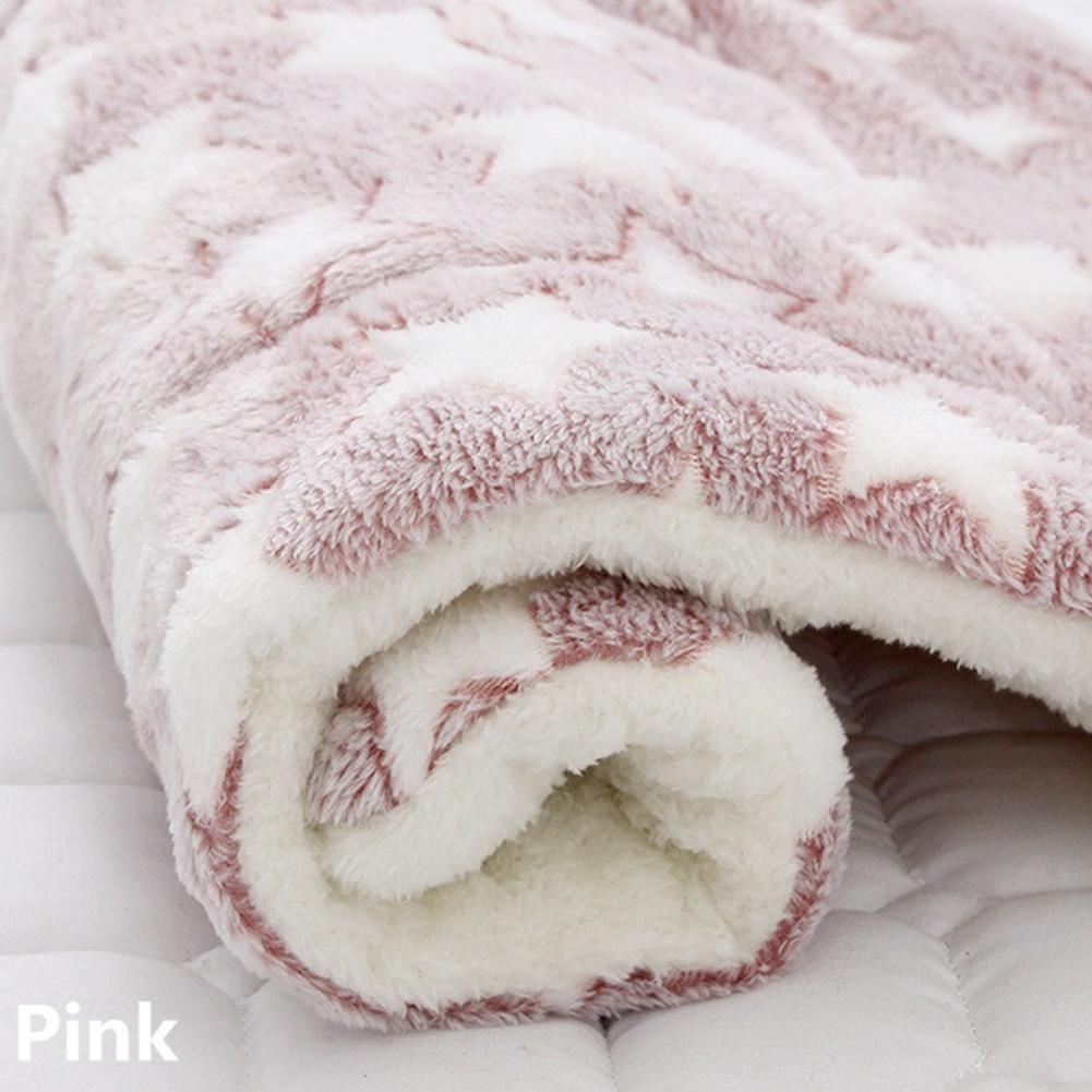 Pet Mat Thickening Warm Autumn Winter Cat Dog Blanket Anti-slip Cushion Red bean paste white star_3# 49*32cm