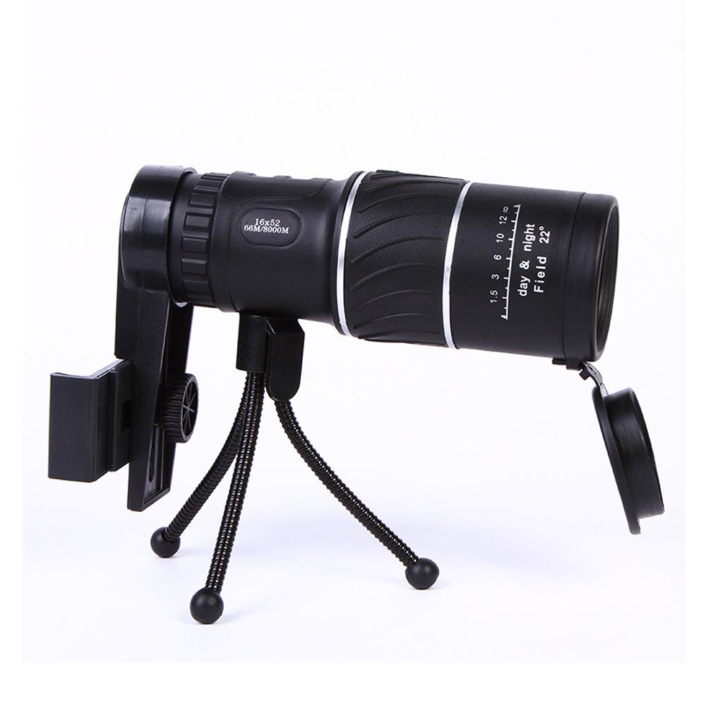 16x52 Zoom HD Monocular Telescope Lens black