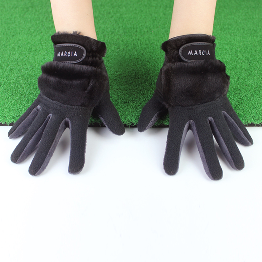 1 Pair Women Winter Golf Gloves Anti-slip Artificial Rabbit Fur Warmth Fit For Left and Right Hand Black 19 size