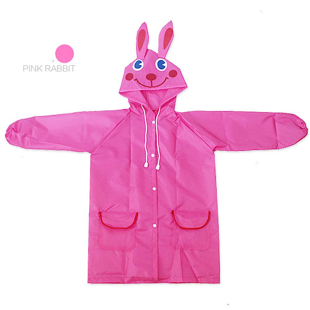 Boy Girl Cute Cartoon Ponchos Vivid Color Raincoat Pink